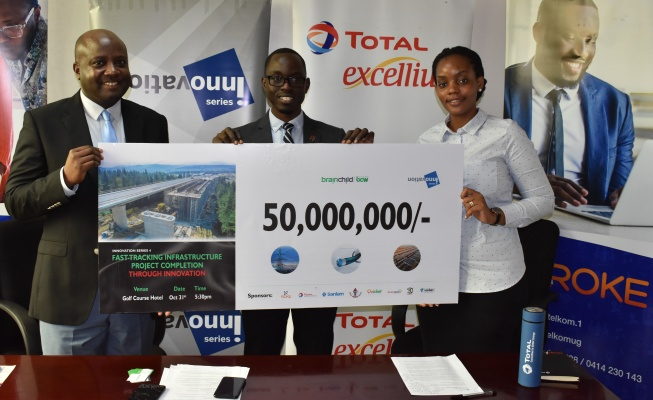 L-R Mr. Alexander Bazirake, the Corporate Relations Manager at Roke Telkom, Mr. Walter Wafula, Business Unit Head-PR at brainchild BCW, and Ms. Sheila Tusiime Mugisha, the Head Corporate Communications at Total Uganda announcing the Ush 50 million sponsorship for the 4th edition of Innovation Series.